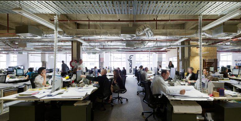 kantooromgeving waar geen biophilic design is toegepast